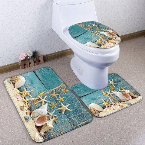 Shop Plank Starfish Printed 3Pcs/Set Flannel Bath Rugs TURQUOISE
