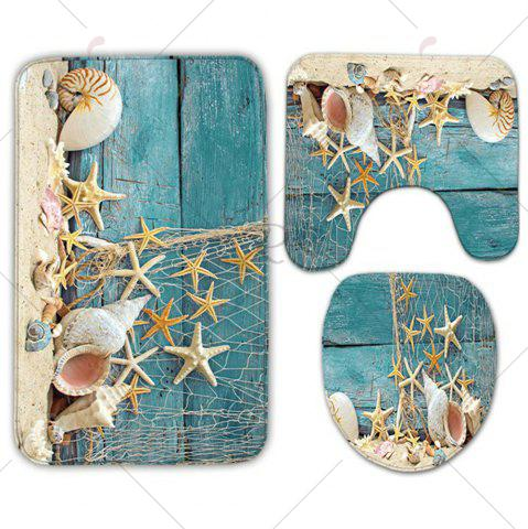 Hot Plank Starfish Printed 3Pcs/Set Flannel Bath Rugs - TURQUOISE  Mobile