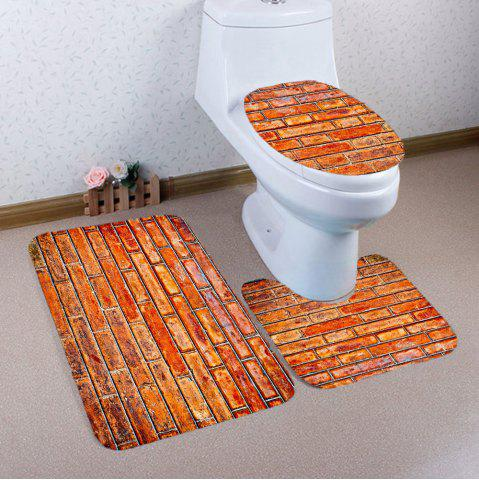 Chic 3Pcs Retro Common Bricks Print Nonslip Bathroom Mats Set LIGHT BROWN