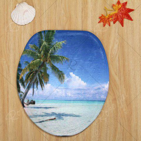 Fancy Beach Tree Pattern 3 Pcs Bath Mat Toilet Mat - BLUE  Mobile