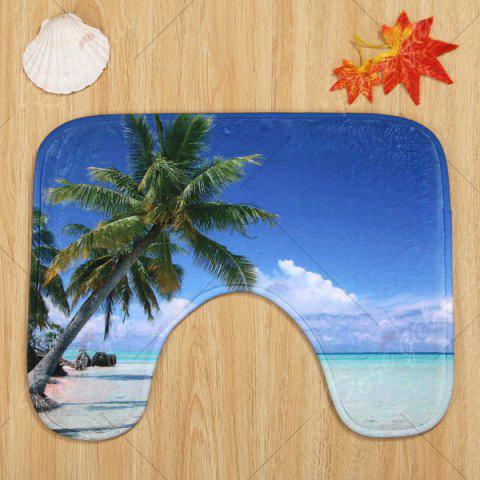 Store Beach Tree Pattern 3 Pcs Bath Mat Toilet Mat - BLUE  Mobile