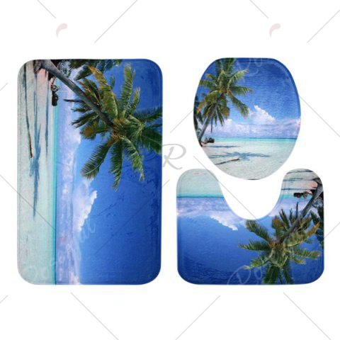 Discount Beach Tree Pattern 3 Pcs Bath Mat Toilet Mat - BLUE  Mobile
