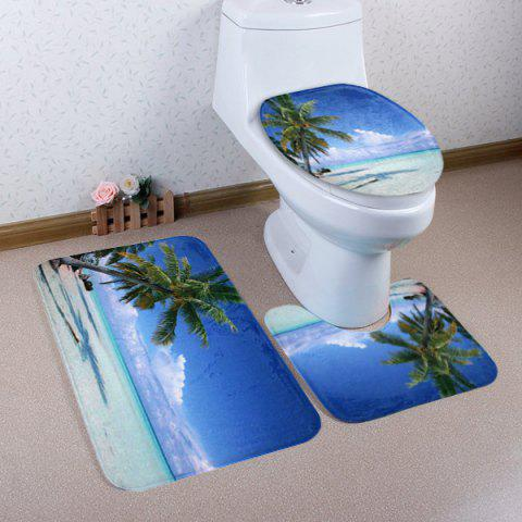 Online Beach Tree Pattern 3 Pcs Bath Mat Toilet Mat - BLUE  Mobile