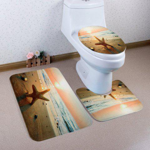 Fancy Sunset Beach Starfish Pattern 3 Pcs Bath Mat Toilet Mat COLORMIX