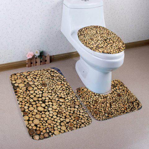 Shop Firewood Pattern 3 Pcs Bath Mat Toilet Mat - BROWN  Mobile