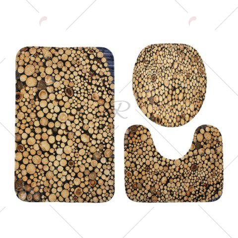 Sale Firewood Pattern 3 Pcs Bath Mat Toilet Mat - BROWN  Mobile