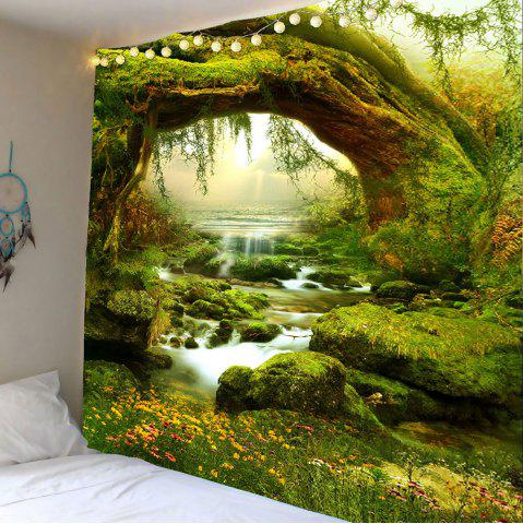 Forest Streams Print Wall Art Tapestry - Green - W79 Inch * L71 Inch