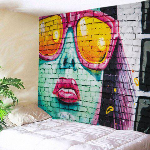 Brick Wall Painting Print Tapestry Wall Hanging Art Decoration - Colormix - W91 Inch * L71 Inch