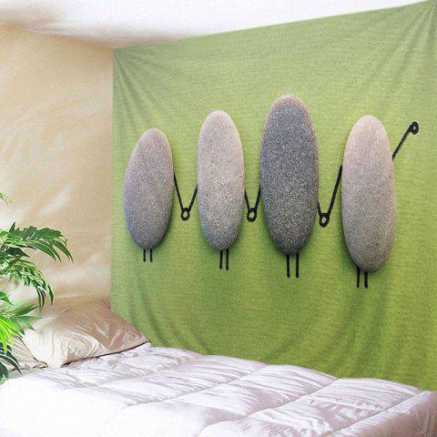 Cartoon Stones Print Tapestry Wall Hanging Art Decoration - Yellow + Green - W91 Inch * L71 Inch