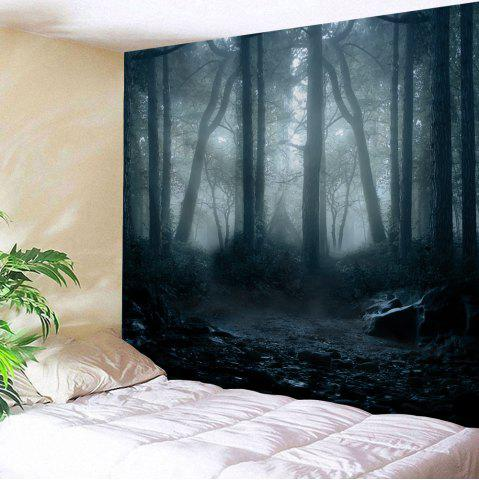 Store Misty Forest Print Wall Decor Tapestry - W91 INCH * L71 INCH BLACK GREY Mobile