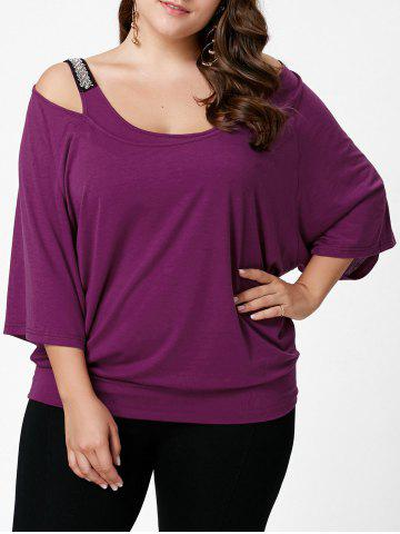 Outfit Plus Size Open Shoulder Batwing Sleeve Top VIOLET ROSE XL