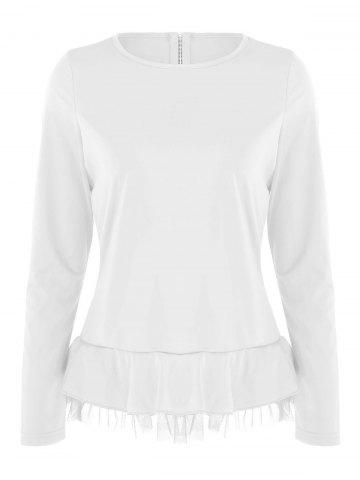 Store Flounce Mesh Panel Long Sleeve Top - S WHITE Mobile