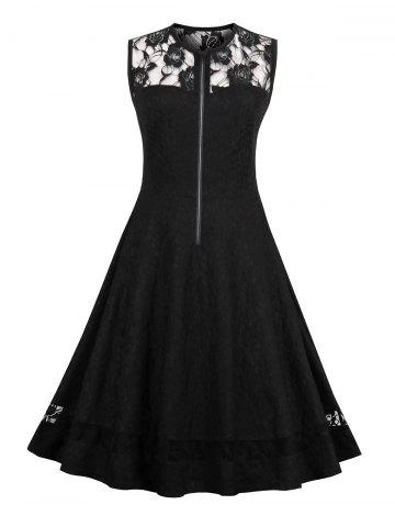 Lace Insert High Waist Sleeveless 50s Dress - Black - 2xl