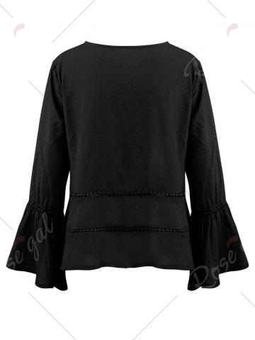 Sale Keyhole Hollow Out Flare Sleeve Blouse - M BLACK Mobile