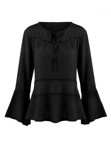 Shop Keyhole Hollow Out Flare Sleeve Blouse - M BLACK Mobile