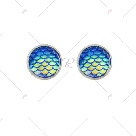 Latest Round Mermaid Scales Stud Tiny Earrings - BLUE  Mobile
