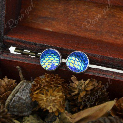 New Round Mermaid Scales Stud Tiny Earrings - BLUE  Mobile