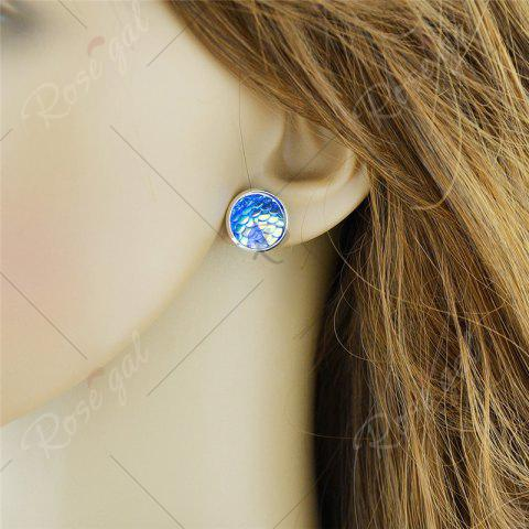 Outfits Round Mermaid Scales Stud Tiny Earrings - BLUE  Mobile
