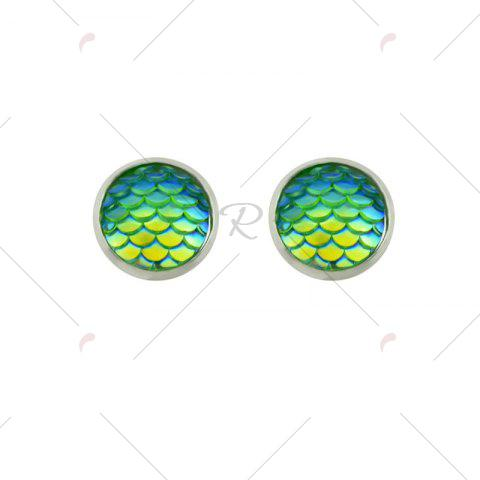 Outfits Round Mermaid Scales Stud Tiny Earrings - GREEN  Mobile