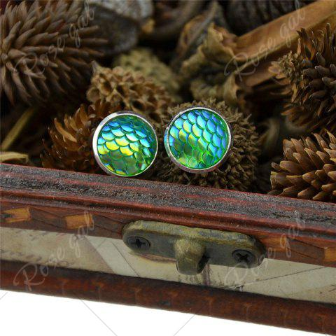 Fashion Round Mermaid Scales Stud Tiny Earrings - GREEN  Mobile