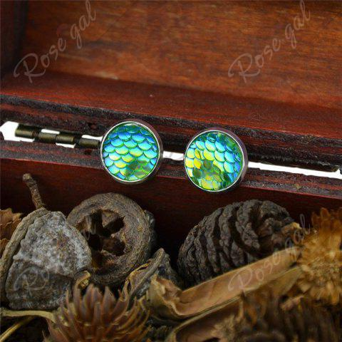 New Round Mermaid Scales Stud Tiny Earrings - GREEN  Mobile