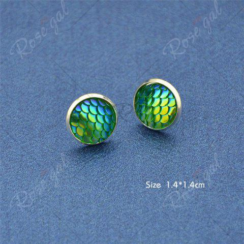 Cheap Round Mermaid Scales Stud Tiny Earrings - GREEN  Mobile