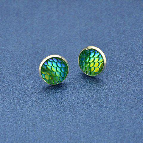 Latest Round Mermaid Scales Stud Tiny Earrings - GREEN  Mobile