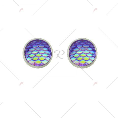 New Round Mermaid Scales Stud Tiny Earrings - PURPLE  Mobile