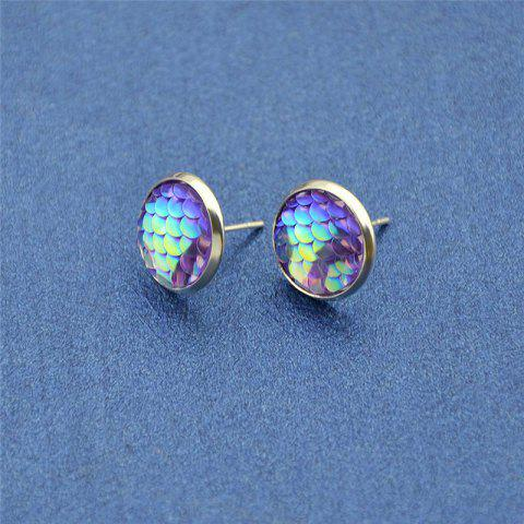 Outfits Round Mermaid Scales Stud Tiny Earrings - PURPLE  Mobile