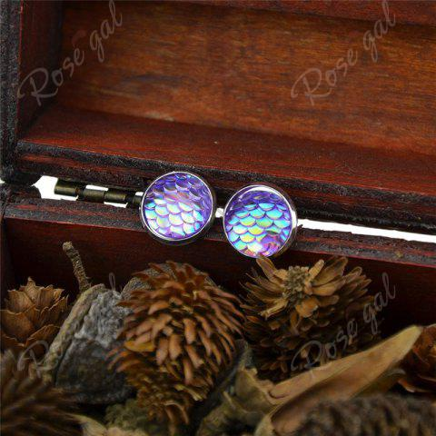 Fashion Round Mermaid Scales Stud Tiny Earrings - PURPLE  Mobile