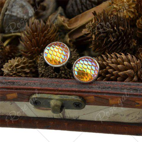 Sale Round Mermaid Scales Stud Tiny Earrings - YELLOW  Mobile