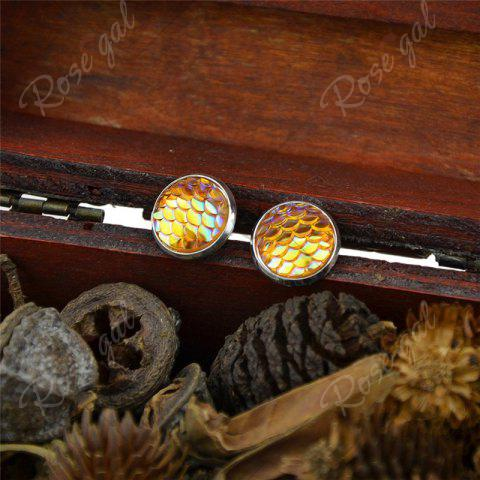 Cheap Round Mermaid Scales Stud Tiny Earrings - YELLOW  Mobile