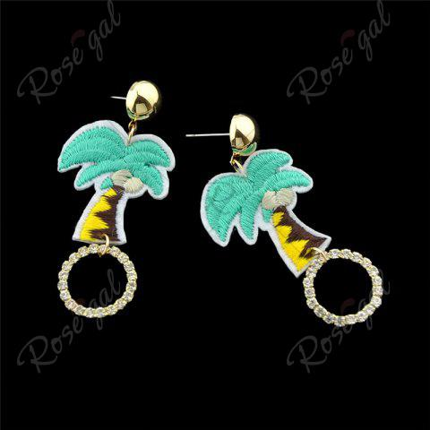 Chic Rhinestone Embroidery Coconut Palm Circle Earrings - GREEN  Mobile