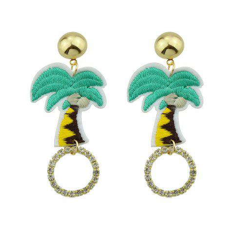 Fashion Rhinestone Embroidery Coconut Palm Circle Earrings GREEN