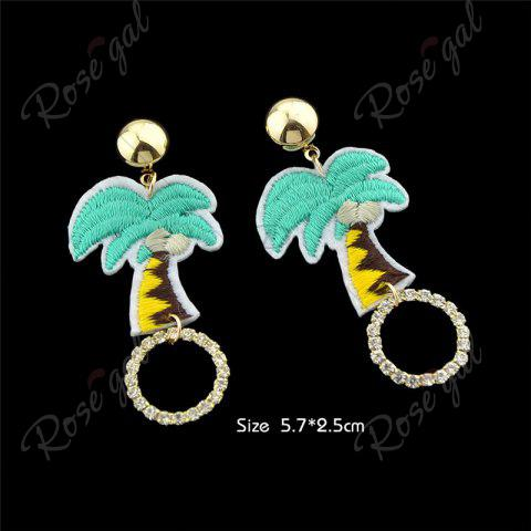 Latest Rhinestone Embroidery Coconut Palm Circle Earrings - GREEN  Mobile