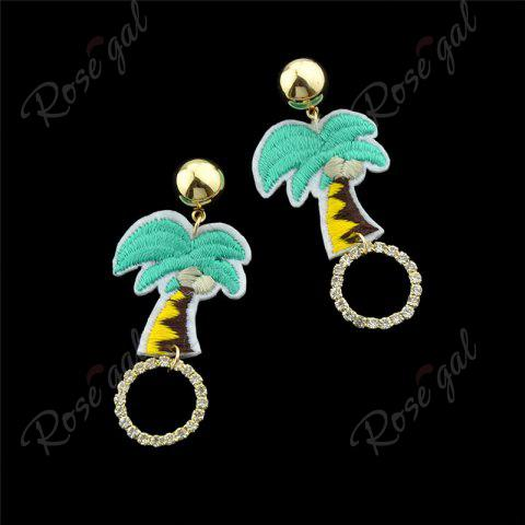 Sale Rhinestone Embroidery Coconut Palm Circle Earrings - GREEN  Mobile