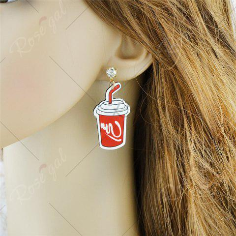 Affordable Funny Rhinestone Chips Drink Dollar Earrings - RED  Mobile