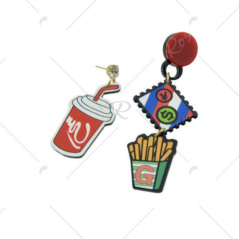Chic Funny Rhinestone Chips Drink Dollar Earrings - RED  Mobile