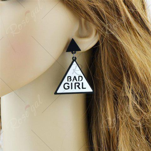Affordable Bad Girl Cool Triangle Drop Earrings - WHITE  Mobile