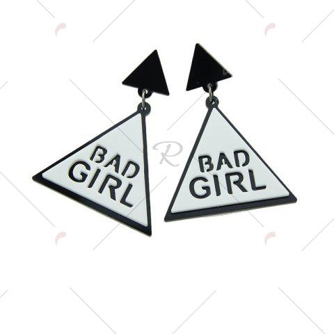 Fashion Bad Girl Cool Triangle Drop Earrings - WHITE  Mobile