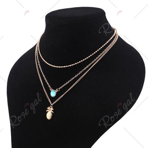Fashion Alloy Faux Crystal Pineapple Layered Necklace - GOLDEN  Mobile