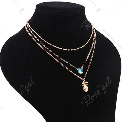 Shops Alloy Faux Crystal Pineapple Layered Necklace - GOLDEN  Mobile
