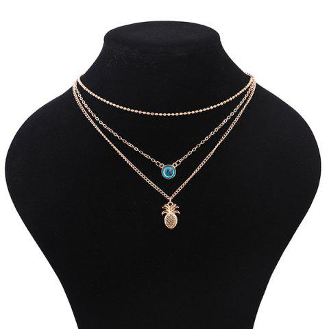 Unique Alloy Faux Crystal Pineapple Layered Necklace - GOLDEN  Mobile