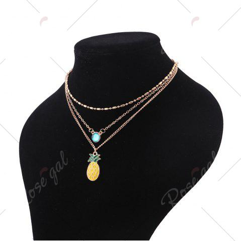 Outfit Faux Crystal Pineapple Layered Pendant Necklace - GOLDEN  Mobile