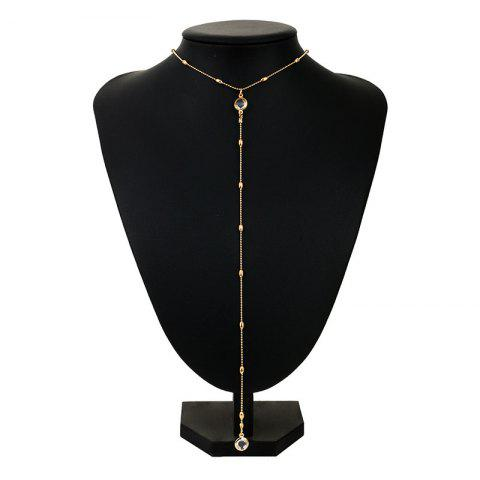 Latest Faux Crystal Alloy Round Long Necklace GOLDEN