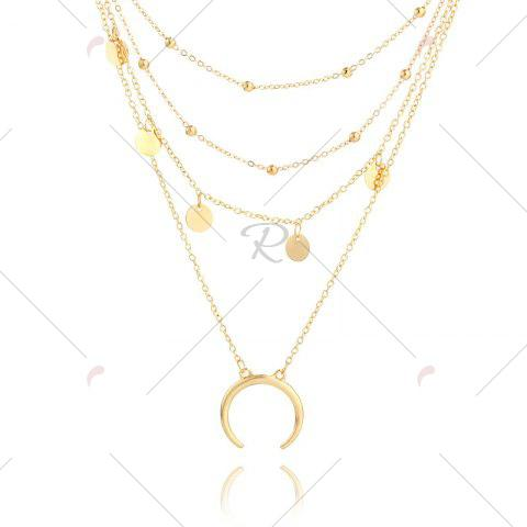 Cheap Tribal Sequins Circle Layered Pendant Necklace - GOLDEN  Mobile