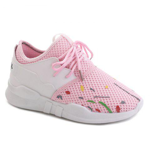 Cheap Graffitti Breathable Mesh Sneakers LIGHT PINK 37