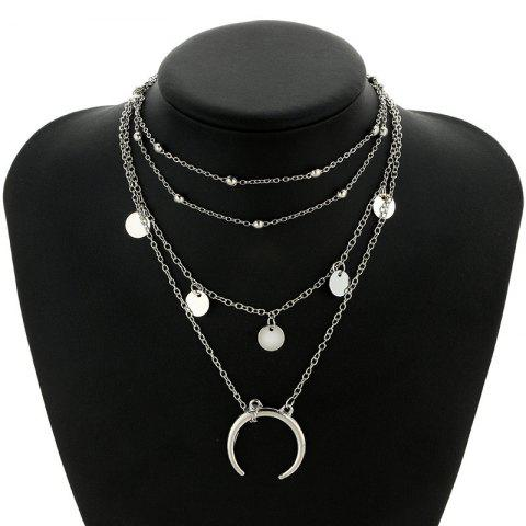 Sale Tribal Sequins Circle Layered Pendant Necklace - SILVER  Mobile