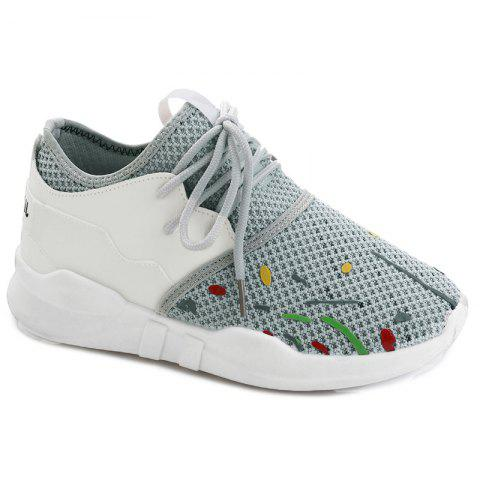 Shop Graffitti Breathable Mesh Sneakers GRAY 39