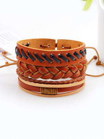 Unique Retro Woven Faux Leather Bracelets Set BROWN